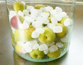梅ジュース・梅シロップの作り方(容器に梅と氷砂糖を入れる)